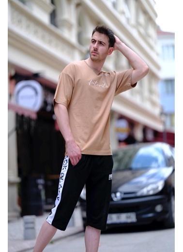 Oksit Crash Futuristic Erkek Oversize Tshirt Bej